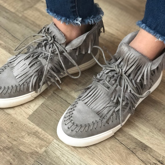 Qupid Shoes - Grey fringe moccasin sneakers